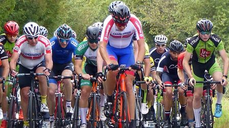 Riders in the Mid Suffolk Road Race - winner Bjorn Krylander (centre) and first Junior Connor Rumble