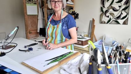 Felixstowe Glass Artist Naomi Brangwyn at home in her studio Picture: LUCY TAYLOR