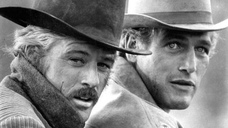 Robert Redford, left, as the Sundance Kid and Paul Newman as Butch Cassidy appear in this scene from