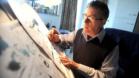 Barrie Appleby at his drawing-board. He says of the Beano that children 'like to feel they are empow
