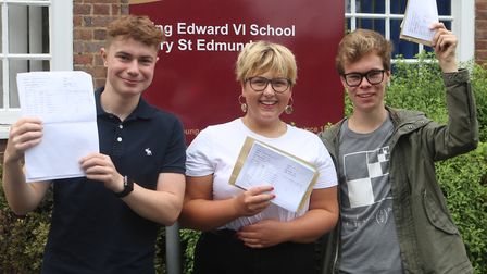 Students receiving their results at King Edward VI School in Bury St Edmunds. Picture: ZOE MACLACHLA