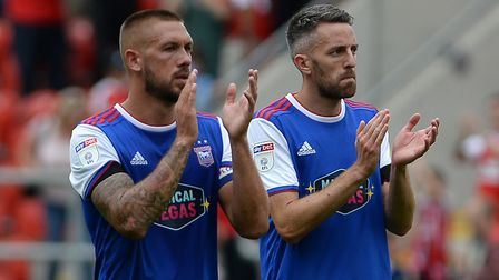 Luke Chambers and Cole Skuse after the defeat at Rotherham Picture Pagepix