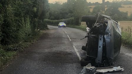 The crash happend on the B1078 near Charsfield. Picture: NORFOLK AND SUFFOLK ROADS POLICING AND FIRE
