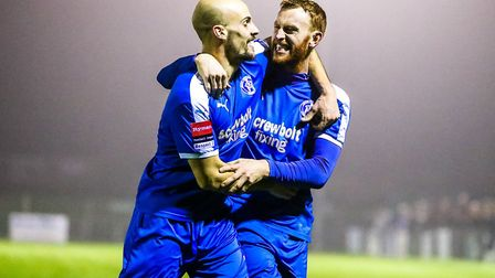 Matt Blake, left, and Patrick Brothers, who both scored in Leiston's 5-2 win at Royston Town in midw