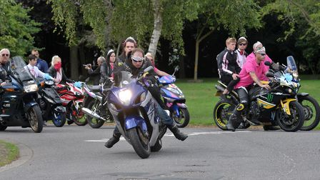 Dozens of motorbikes led the procession at Ben Quartermaine's funeral Picture: ARCHANT