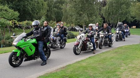 The funeral procession was led by dozens of motorbikes Picture: ADAM HOWLETT