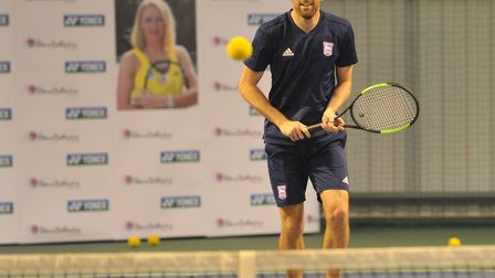 Cole Skuse taking part in a tennis session with the Elena Baltacha Foundation Picture: SARAH LUCY B