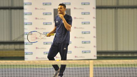 Andre Dozzell taking part in a tennis session with the Elena Baltacha Foundation Picture: SARAH LUC