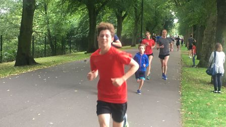 Runners approaching the finish in The Walks park. Picture: CARL MARSTON