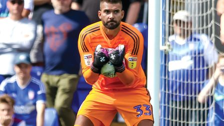 Bartosz Bialkowski grasps the ball during the Ipswich Town v West Ham match. Picture: Steve Walle