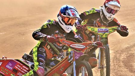 Drew Kemp (blue helmet) was superb again for the Mildenhall Fen Tigers in their win over Cradley Pi