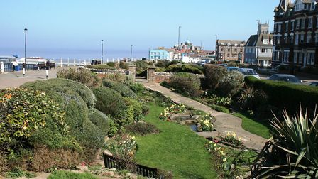 Cromer clifftop gardens. There is nowhere better to eat fish and chips out of a paper! Picture: PAUL