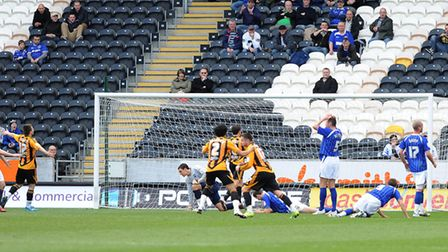The Ipswich defence in disarray after Tommy Smith deflected the ball into his own net at Hull ES