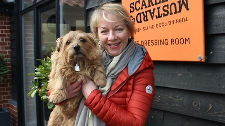 Sandy Ruddock and Rudi the Dog. Picture: SCARLETT AND MUSTARD