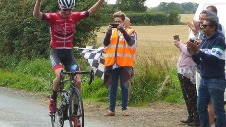 Young Irishman Cian Swailes takes the win at Otley in the Orwell Velo Road Race. Picture: FERGUS MUI