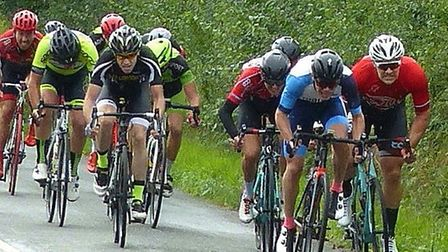 The blistering sprint for second place in the Orwell Velo Road Race – Nick Flexman (right) is pipped
