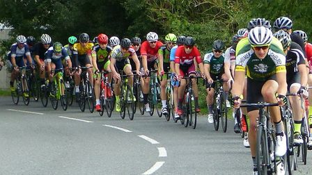 Colin Peck (Chelmer CC) heads the Orwell Velo Road Race into Ashbocking. Picture: FERGUS MUIR