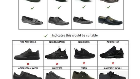 Stowupland High's strict footwear requirements, as set out in a newsletter to parents Picture: STOWU