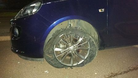 The shredded tyre of a vehicle stopped by a police stinger Picture: ESSEX ROADS POLICING UNIT