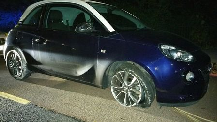 A suspected stolen car after its stop by a police stinger Picture: ESSEX ROADS POLICING UNIT