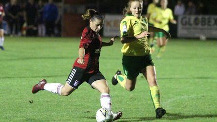 Zoe Cossey takes aim during the East Anglian derby Picture: ROSS HALLS