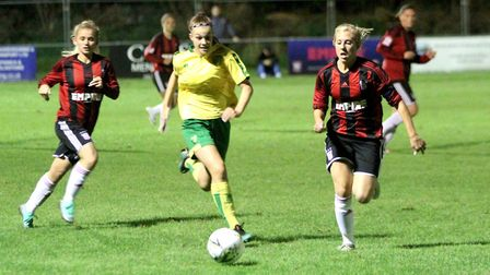 Town captain Amanda Crump chases the ball Picture: ROSS HALLS