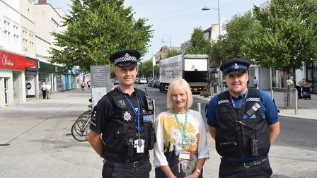 Cllr McWilliams is seen here on a patrol with officers in Clacton during the summer Picture: WILL LO