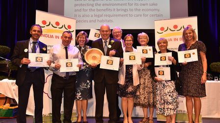 Anglia in Bloom awards in Bury St Edmunds. Bury St Edmunds won best local authority floral display