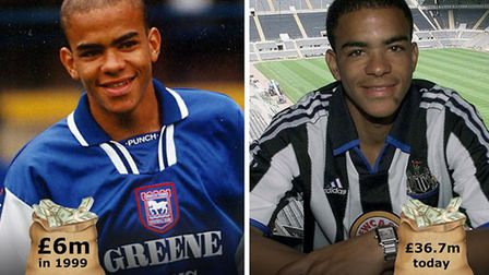 Kieron Dyer left Ipswich Town for Newcastle in 1999. Picture: PA