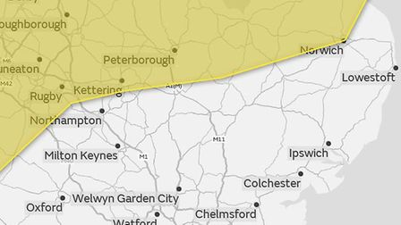The yellow warning for wind covers northern parts of East Anglia Picture: MET OFFICE