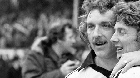 Kevin Beattie and Clive Woods celebrate their 3-0 victory against West Bromwich Albion Picture: P