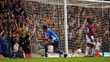 Pablo Counago celebrates after hooking the ball into the West Ham net for the equaliser on this day