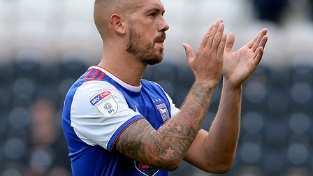 Town skipper Luke Chambers applauds the travelling fans following Saturday's 2-0 defeat at Hull City