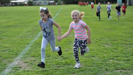 Children at Britannia Primary School take part in their first Daily Mile of the year Picture: SARAH
