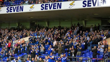 Town fans applaud for Kevin Beattie on six minutes. Picture: STEVE WALLER WWW.STEPHENWALLER.C