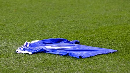The number 6 shirt laid out on the Portman Road turf for Kevin Beattie before the game against Brent