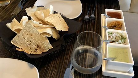 The poppadoms and chutneys at Montaz - look out for that mango, chilli and lime pickle! Picture: MAR