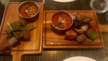 Our mains at Montaz - the venison Harin Mansh, left, and the duck shashlich. Picture: LIZ HEATH