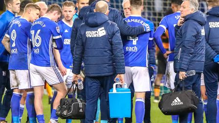 Mick McCarthy held a post-match huddle after Ipswich Town lost 3-0 at home to Hull back in March. Ph
