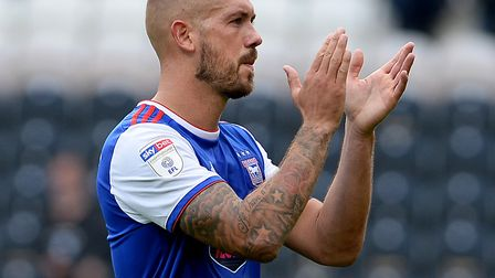 Luke Chambers applauds the travelling fans after the loss at Hull City Picture Pagepix