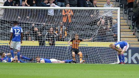 Flynn Downes is distraught after his mistake led to the first Hull goal after 4 minutes Picture Page