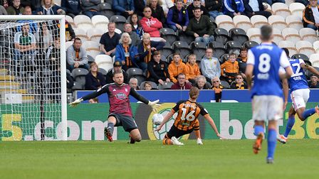 Jackson Irvine seals the win for Hull against Ipswich putting the ball past Dean Gerken Picture Page