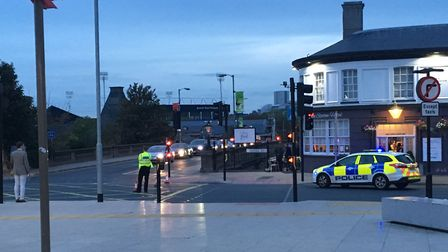Police cordoned off Burrell Road near Ipswich railway station Picture:ARCHANT