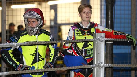 Coty Garcia (left) and Drew Kemp pictured as they wait for their first heat. PICTURE STEVE WALLER