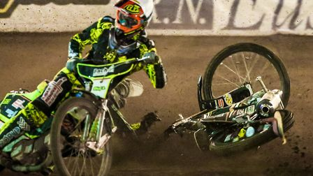 Coty Garcia is partly hidden as he falls behind Nicolaj Busk Jakobsen in the first rerun of heat fou