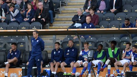 Paul Hurst watches the action at the KCOM Stadium. Photo; Pagepix