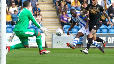 Frank Nouble fires home Colchester's second, and his first for the Essex club, against Cambridge. P