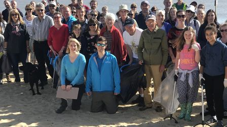 Volunteers ready to pick litter off Southwold's beaches Picture: VICTORIA PERTUSA