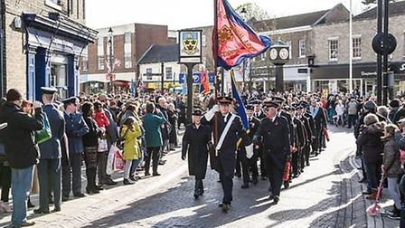 The Stowmarket remembrance parade in 2017 Picture: STOWMARKET TOWN COUNCIL