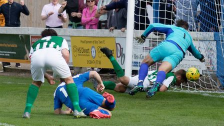 GOAL Great Wakering full back Jason Ring heads into his own goal to give Bury the points in the 85th